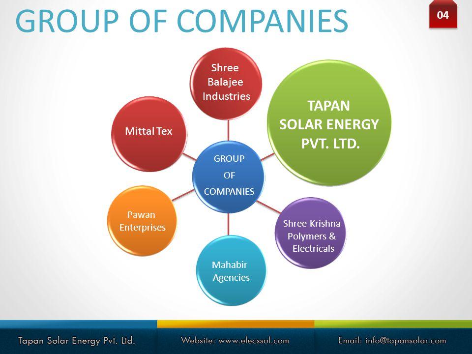 GROUP OF COMPANIES 04 GROUP OF COMPANIES Shree Krishna Polymers & Electricals Mahabir Agencies Pawan Enterprises Mittal Tex Shree Balajee Industries T
