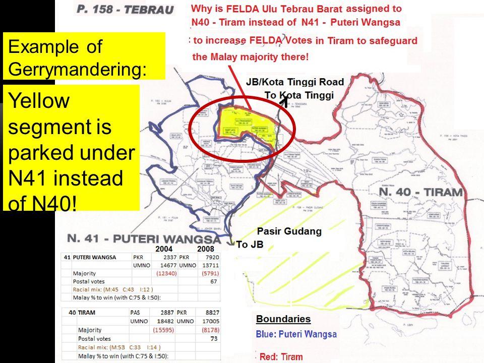 16 Yellow segment is parked under N41 instead of N40! Example of Gerrymandering: