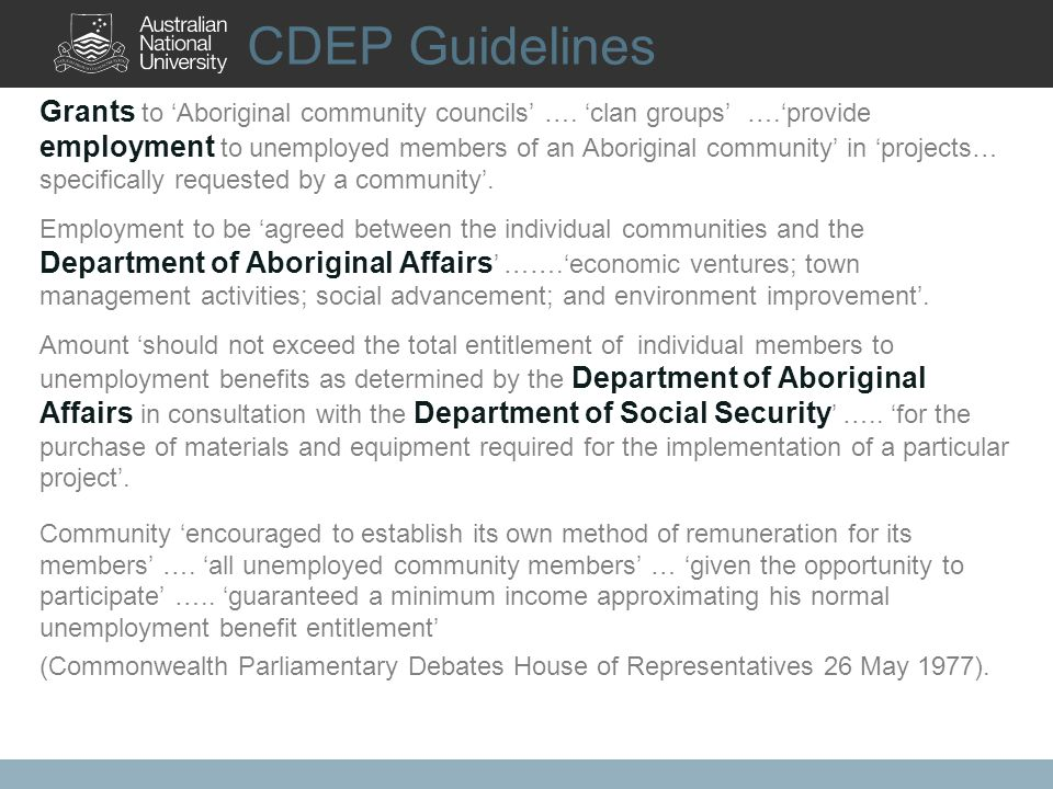 CDEP Guidelines Grants to Aboriginal community councils ….