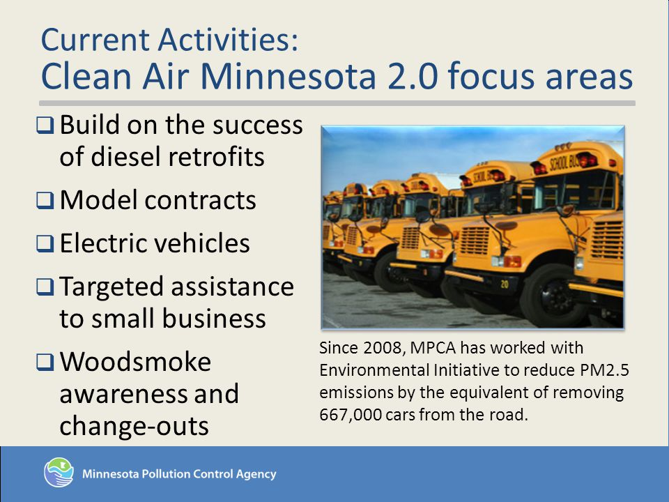 Current Activities: Clean Air Minnesota 2.0 focus areas Build on the success of diesel retrofits Model contracts Electric vehicles Targeted assistance to small business Woodsmoke awareness and change-outs Since 2008, MPCA has worked with Environmental Initiative to reduce PM2.5 emissions by the equivalent of removing 667,000 cars from the road.