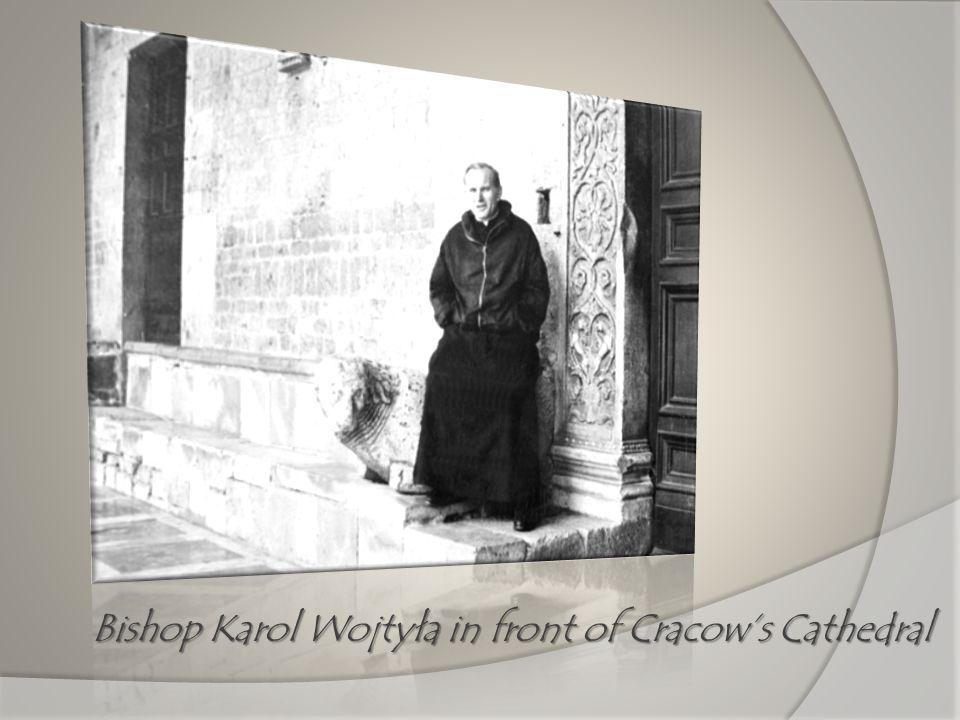 Bishop Karol Wojtyła in front of Cracows Cathedral