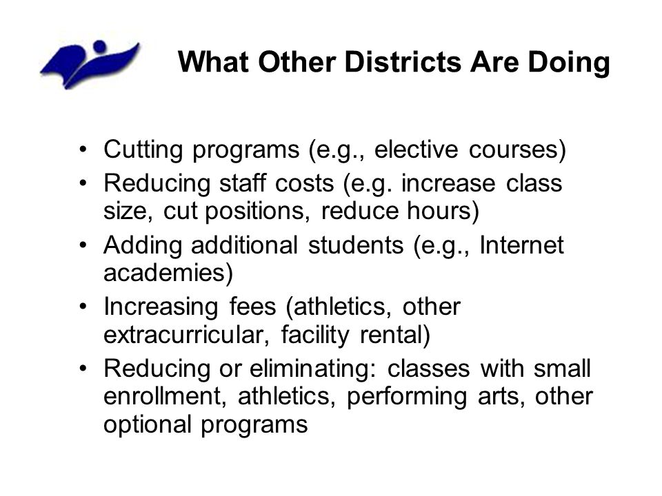 What Other Districts Are Doing Cutting programs (e.g., elective courses) Reducing staff costs (e.g. increase class size, cut positions, reduce hours)