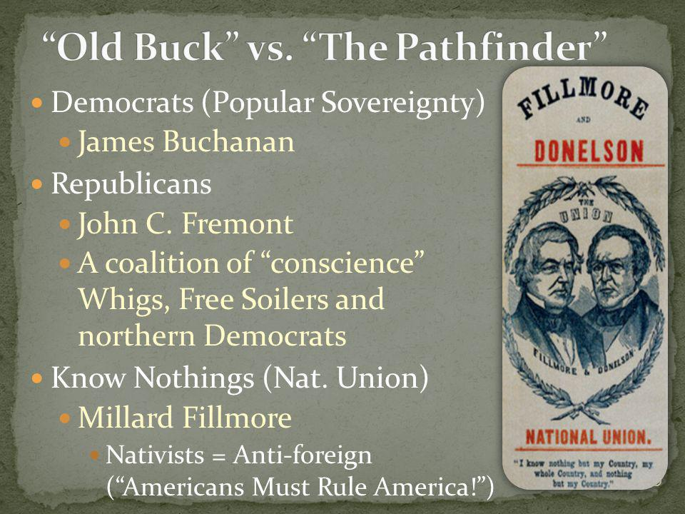 Democrats (Popular Sovereignty) James Buchanan Republicans John C. Fremont A coalition of conscience Whigs, Free Soilers and northern Democrats Know N
