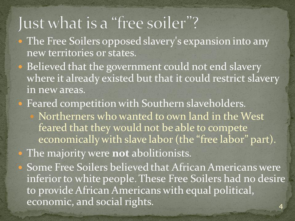The Free Soilers opposed slavery s expansion into any new territories or states.