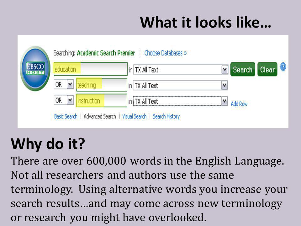 What it looks like… Why do it.There are over 600,000 words in the English Language.