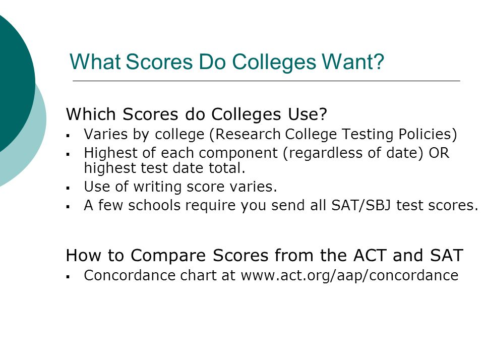 What Scores Do Colleges Want. Which Scores do Colleges Use.