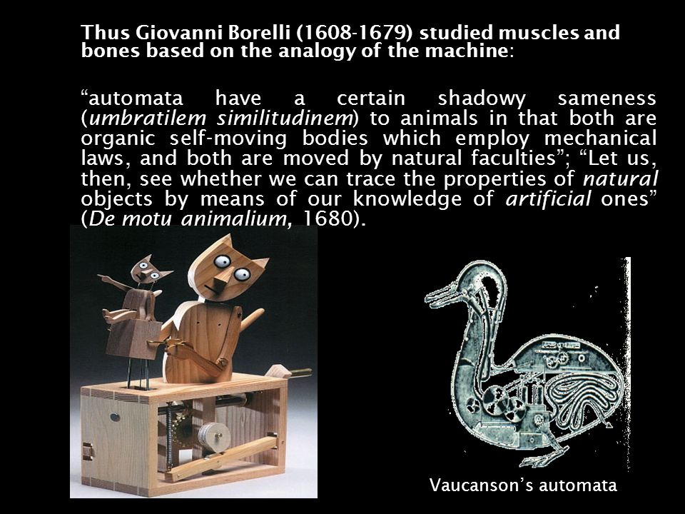 Thus Giovanni Borelli (1608-1679) studied muscles and bones based on the analogy of the machine: automata have a certain shadowy sameness (umbratilem similitudinem) to animals in that both are organic self-moving bodies which employ mechanical laws, and both are moved by natural faculties; Let us, then, see whether we can trace the properties of natural objects by means of our knowledge of artificial ones (De motu animalium, 1680).