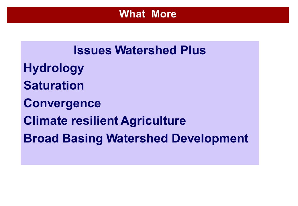 Issues Watershed Plus Hydrology Saturation Convergence Climate resilient Agriculture Broad Basing Watershed Development What More