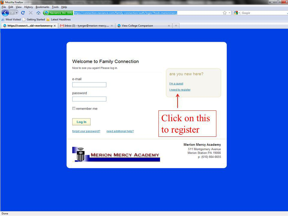 Click on I need to register Click on this to register