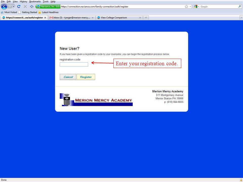 Enter your registration code.