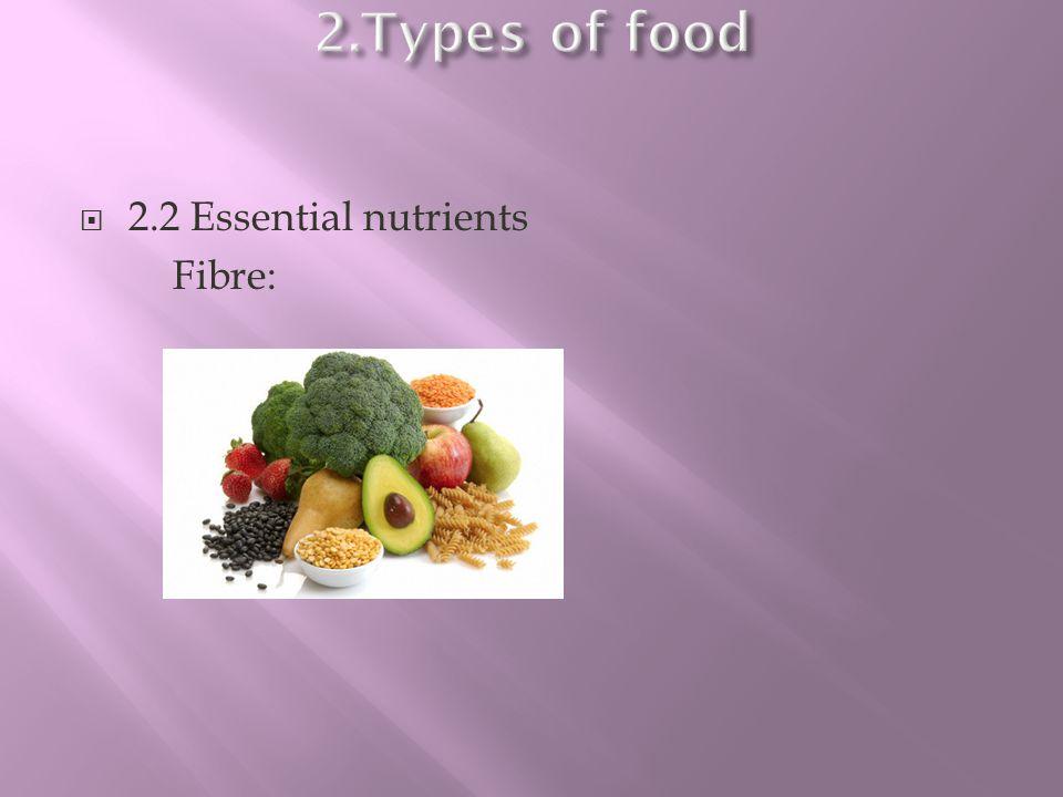2.2 Essential nutrients Fibre: