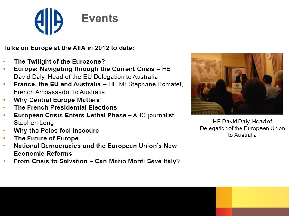 Events Talks on Europe at the AIIA in 2012 to date: The Twilight of the Eurozone? Europe: Navigating through the Current Crisis – HE David Daly, Head