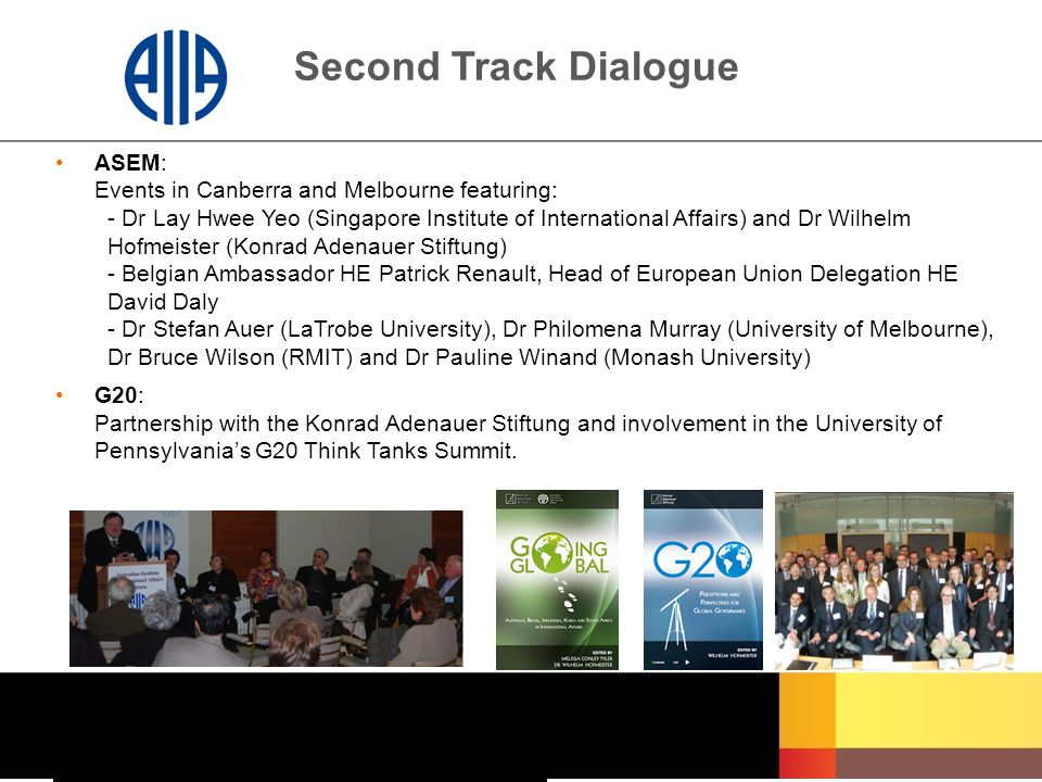Second Track Dialogue ASEM: Events in Canberra and Melbourne featuring: - Dr Lay Hwee Yeo (Singapore Institute of International Affairs) and Dr Wilhel
