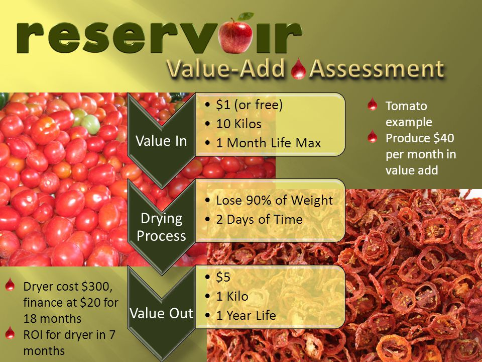 Value In $1 (or free) 10 Kilos 1 Month Life Max Drying Process Lose 90% of Weight 2 Days of Time Value Out $5 1 Kilo 1 Year Life Dryer cost $300, finance at $20 for 18 months ROI for dryer in 7 months Tomato example Produce $40 per month in value add
