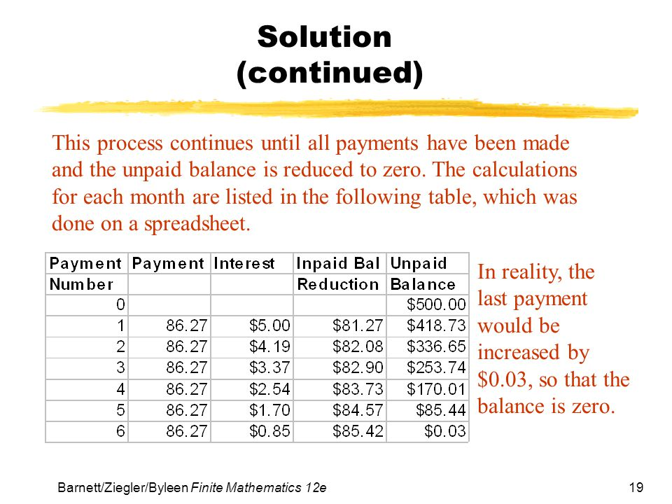 19 Barnett/Ziegler/Byleen Finite Mathematics 12e Solution (continued) This process continues until all payments have been made and the unpaid balance