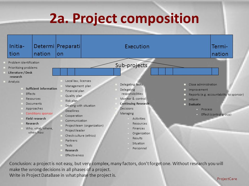 2a. Project composition Initia- tion Determi nation Preparati on Execution Termi- nation Sub-projects ProjectCare Problem identification Prioritizing