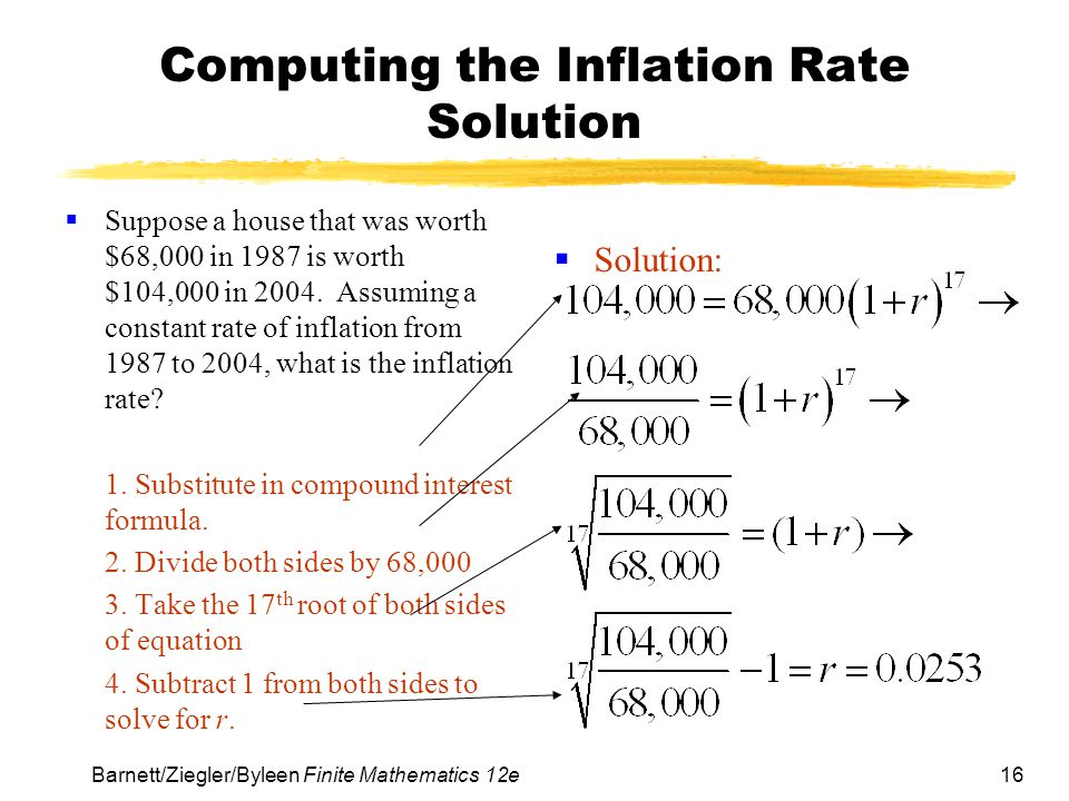 16 Barnett/Ziegler/Byleen Finite Mathematics 12e Computing the Inflation Rate Solution Suppose a house that was worth $68,000 in 1987 is worth $104,00