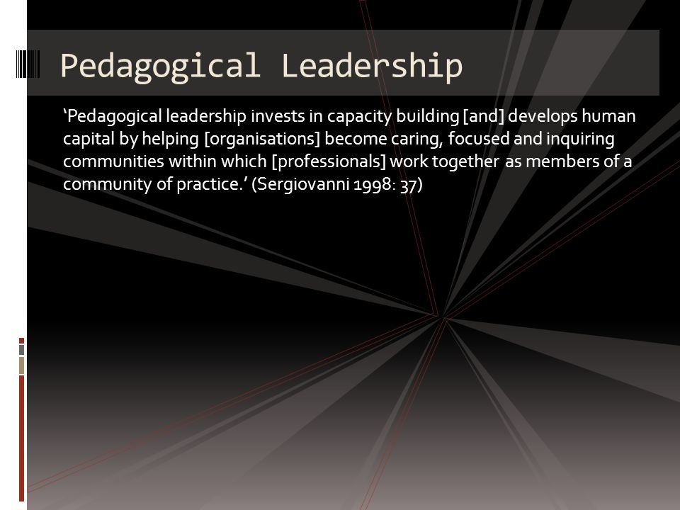 Pedagogical leadership invests in capacity building [and] develops human capital by helping [organisations] become caring, focused and inquiring communities within which [professionals] work together as members of a community of practice.