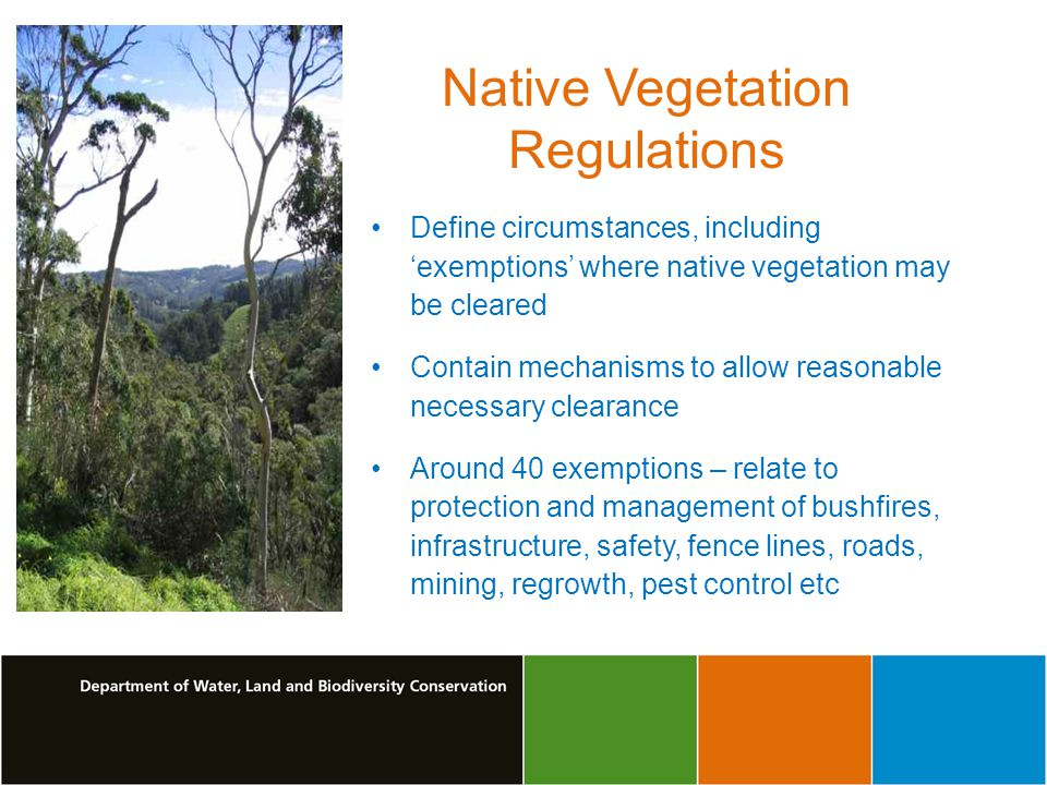 Native Vegetation Regulations Define circumstances, including exemptions where native vegetation may be cleared Contain mechanisms to allow reasonable necessary clearance Around 40 exemptions – relate to protection and management of bushfires, infrastructure, safety, fence lines, roads, mining, regrowth, pest control etc