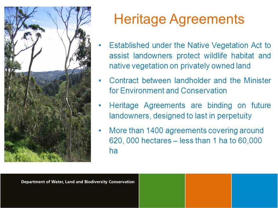 Heritage Agreements Established under the Native Vegetation Act to assist landowners protect wildlife habitat and native vegetation on privately owned