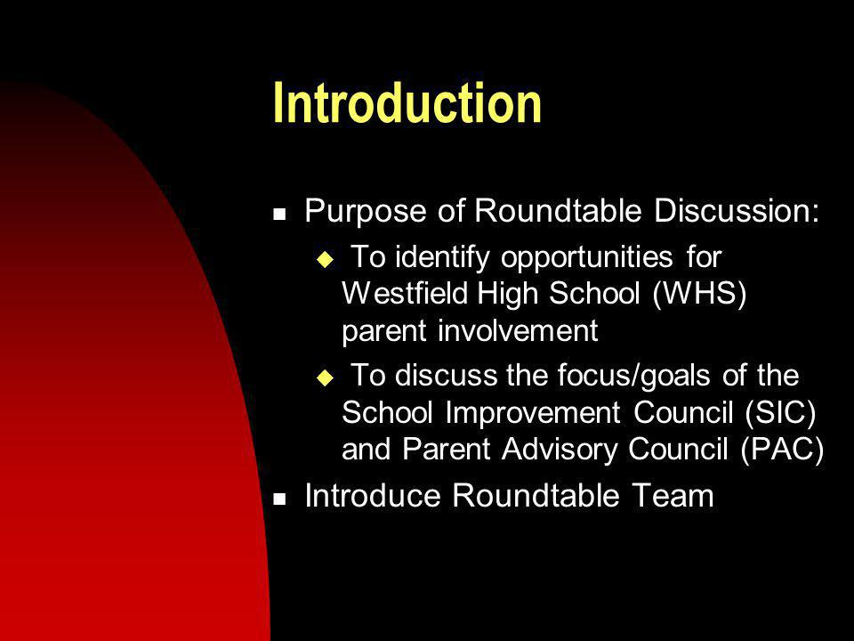 Introduction Purpose of Roundtable Discussion: To identify opportunities for Westfield High School (WHS) parent involvement To discuss the focus/goals of the School Improvement Council (SIC) and Parent Advisory Council (PAC) Introduce Roundtable Team