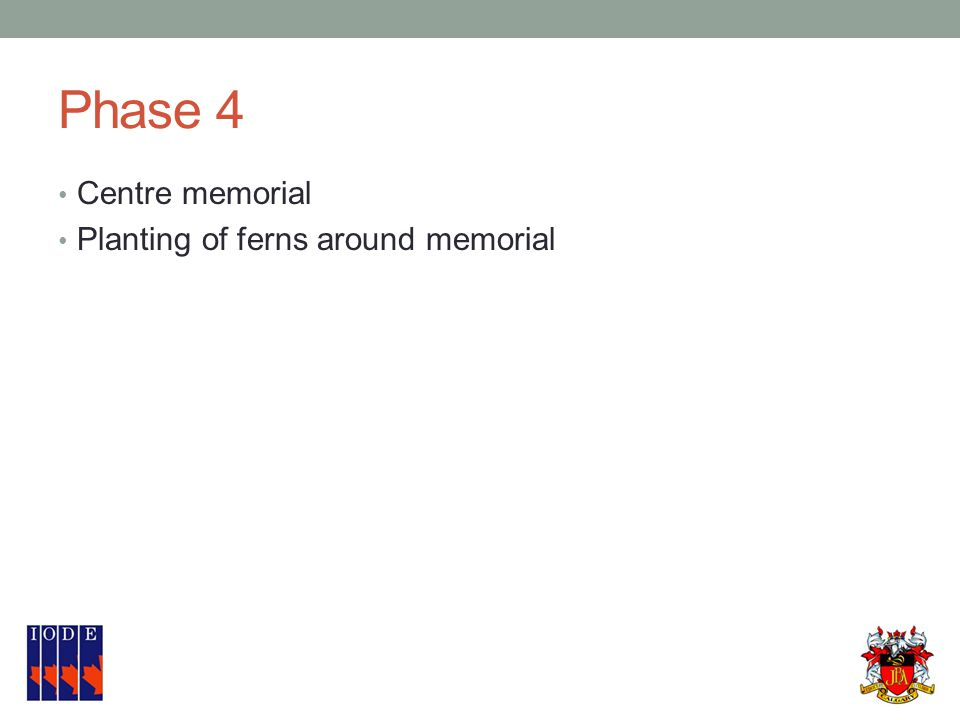Phase 4 Centre memorial Planting of ferns around memorial