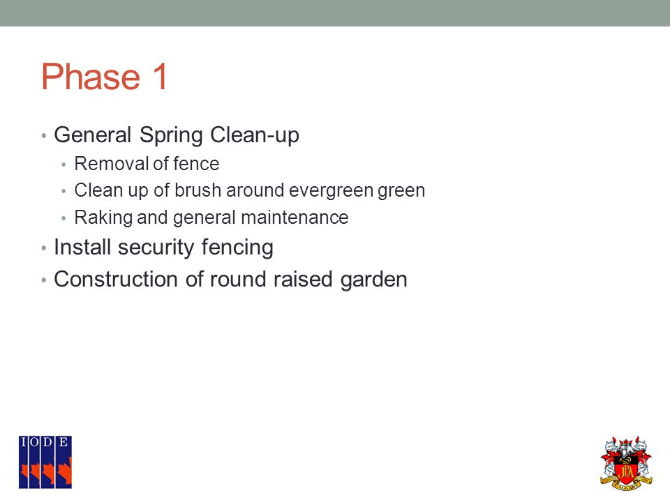 Phase 1 General Spring Clean-up Removal of fence Clean up of brush around evergreen green Raking and general maintenance Install security fencing Construction of round raised garden