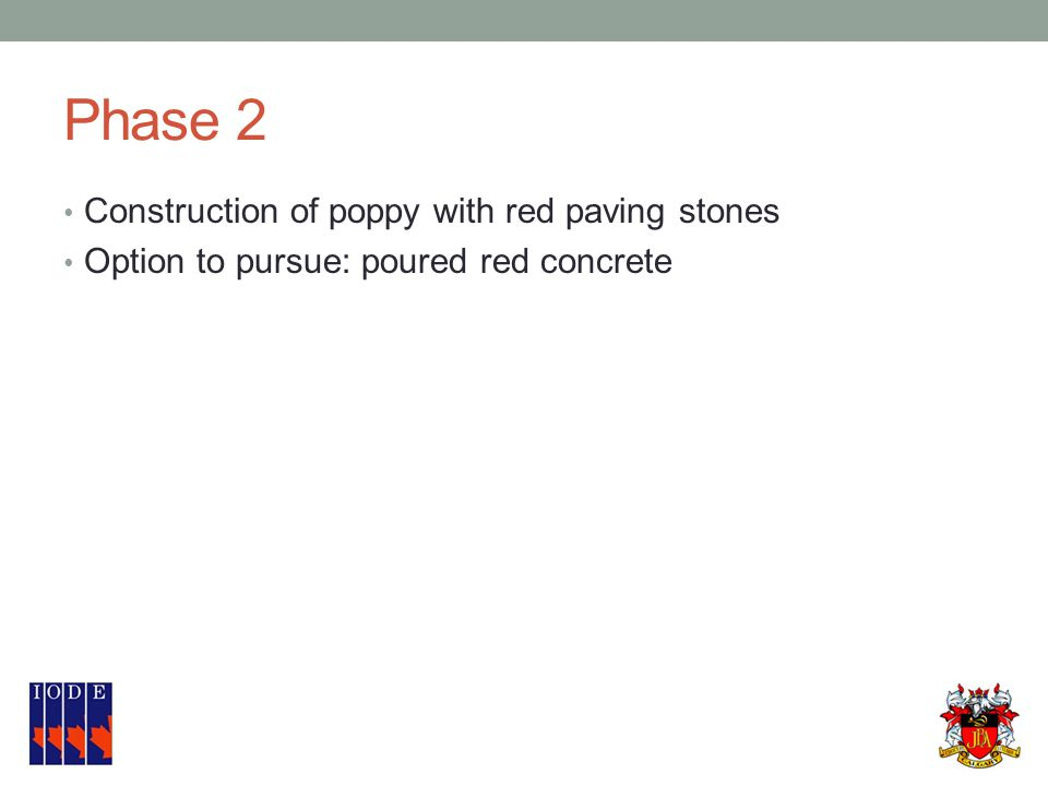 Phase 2 Construction of poppy with red paving stones Option to pursue: poured red concrete