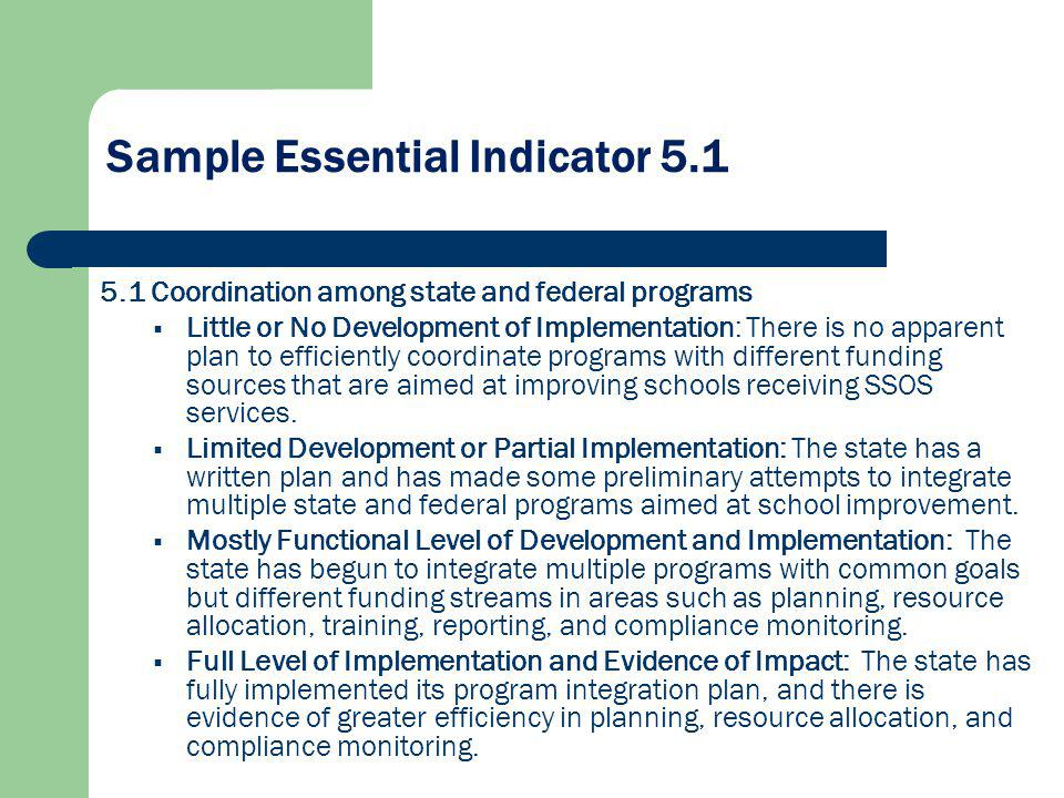 Sample Essential Indicator 5.1 5.1 Coordination among state and federal programs Little or No Development of Implementation: There is no apparent plan