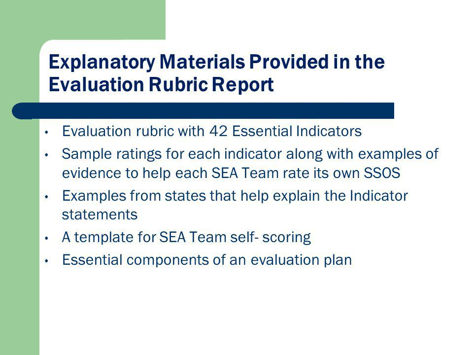 Explanatory Materials Provided in the Evaluation Rubric Report Evaluation rubric with 42 Essential Indicators Sample ratings for each indicator along with examples of evidence to help each SEA Team rate its own SSOS Examples from states that help explain the Indicator statements A template for SEA Team self- scoring Essential components of an evaluation plan