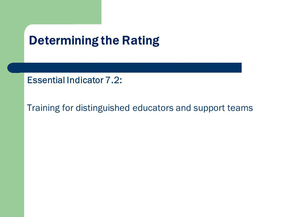 Determining the Rating Essential Indicator 7.2: Training for distinguished educators and support teams
