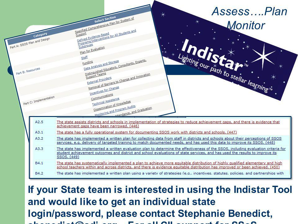 Assess….Plan ….Monitor If your State team is interested in using the Indistar Tool and would like to get an individual state login/password, please co