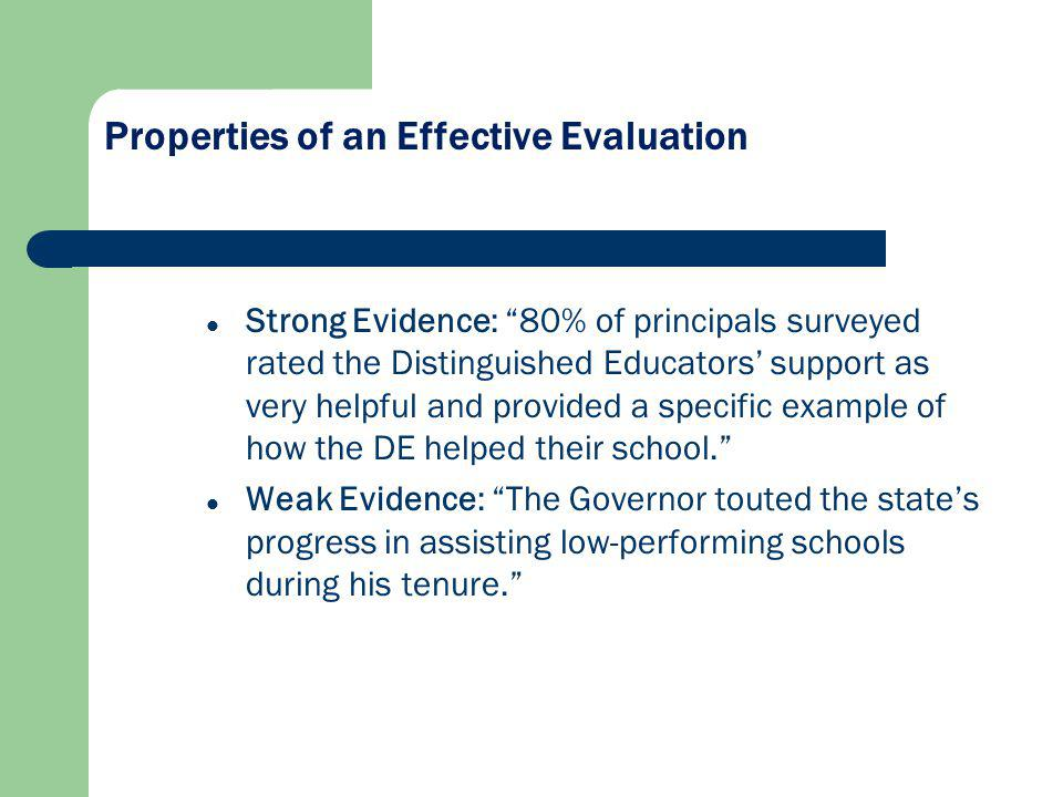 Strong Evidence: 80% of principals surveyed rated the Distinguished Educators support as very helpful and provided a specific example of how the DE helped their school.