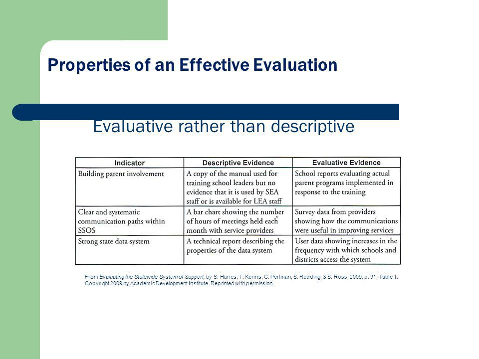 Evaluative rather than descriptive Properties of an Effective Evaluation From Evaluating the Statewide System of Support, by S. Hanes, T. Kerins, C. P