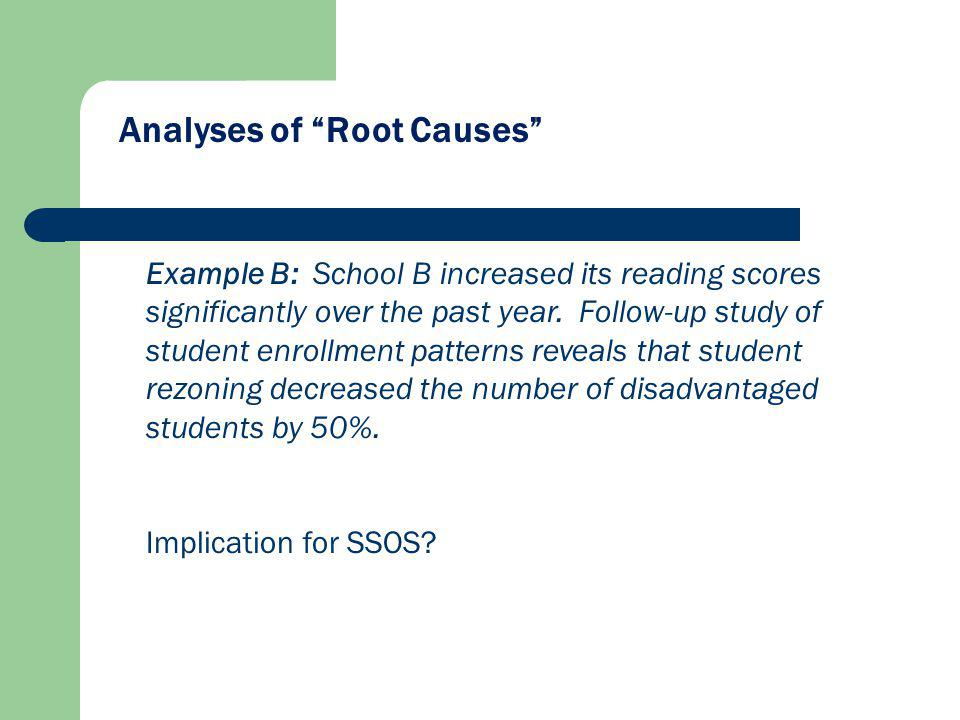 Analyses of Root Causes Example B: School B increased its reading scores significantly over the past year.