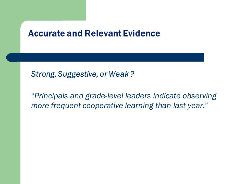 Accurate and Relevant Evidence Strong, Suggestive, or Weak ? Principals and grade-level leaders indicate observing more frequent cooperative learning