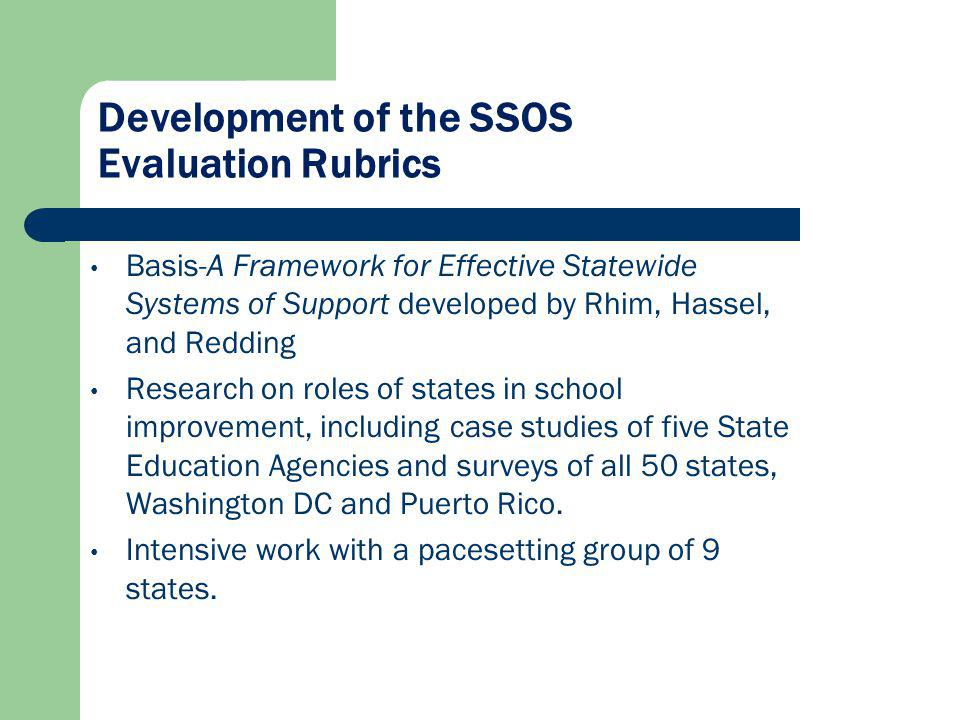 Development of the SSOS Evaluation Rubrics Basis-A Framework for Effective Statewide Systems of Support developed by Rhim, Hassel, and Redding Researc