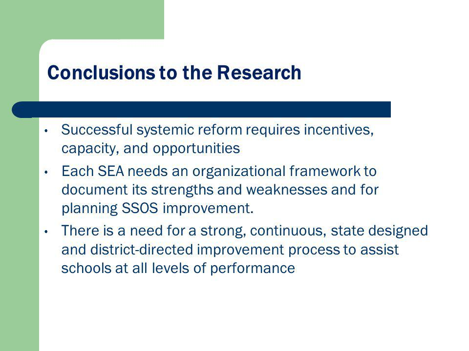 Conclusions to the Research Successful systemic reform requires incentives, capacity, and opportunities Each SEA needs an organizational framework to