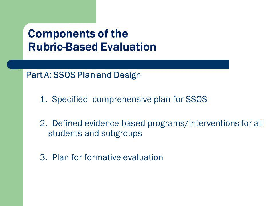 Components of the Rubric-Based Evaluation Part A: SSOS Plan and Design 1. Specified comprehensive plan for SSOS 2. Defined evidence-based programs/int