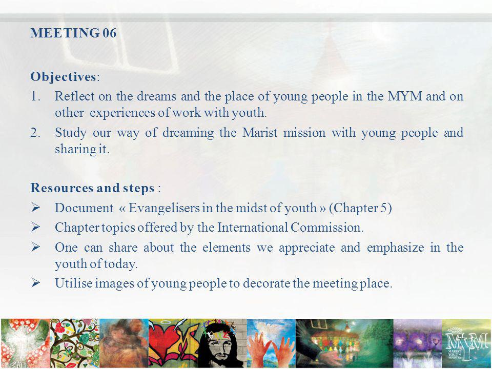 MEETING 06 Objectives: 1.Reflect on the dreams and the place of young people in the MYM and on other experiences of work with youth.