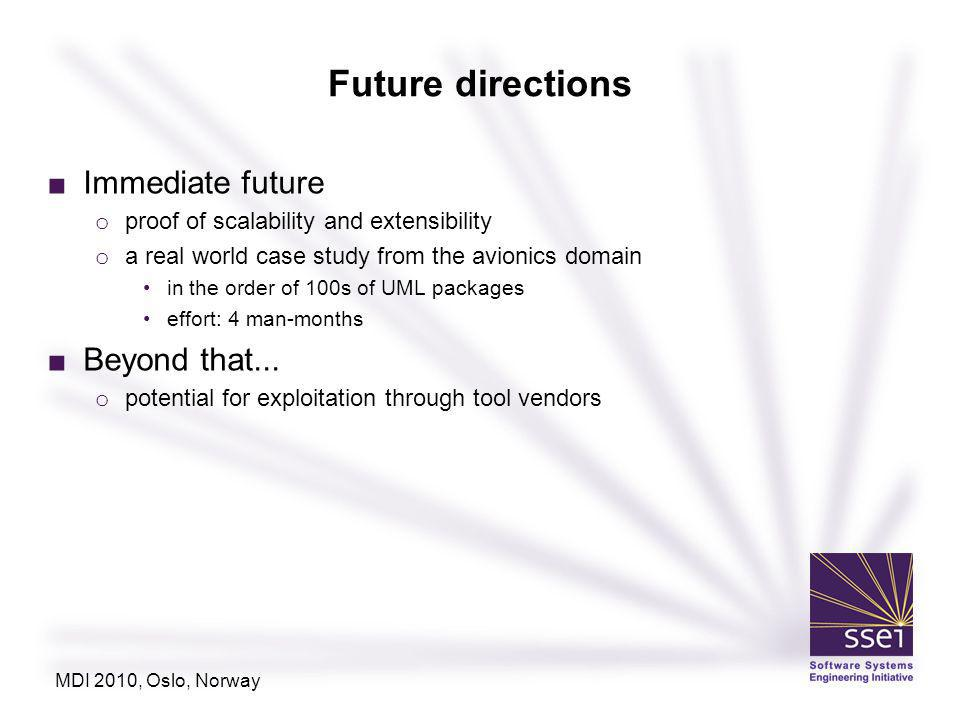 Future directions Immediate future o proof of scalability and extensibility o a real world case study from the avionics domain in the order of 100s of UML packages effort: 4 man-months Beyond that...