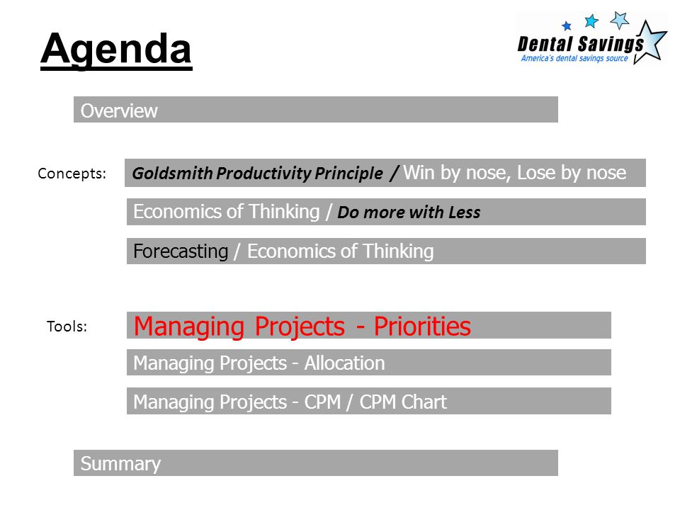 Agenda Overview Goldsmith Productivity Principle / Win by nose, Lose by nose Economics of Thinking / Do more with Less Managing Projects - Priorities