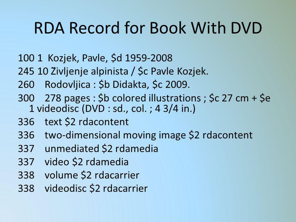 RDA Record for Book With DVD 100 1 Kozjek, Pavle, $d 1959-2008 245 10 Življenje alpinista / $c Pavle Kozjek. 260 Rodovljica : $b Didakta, $c 2009. 30