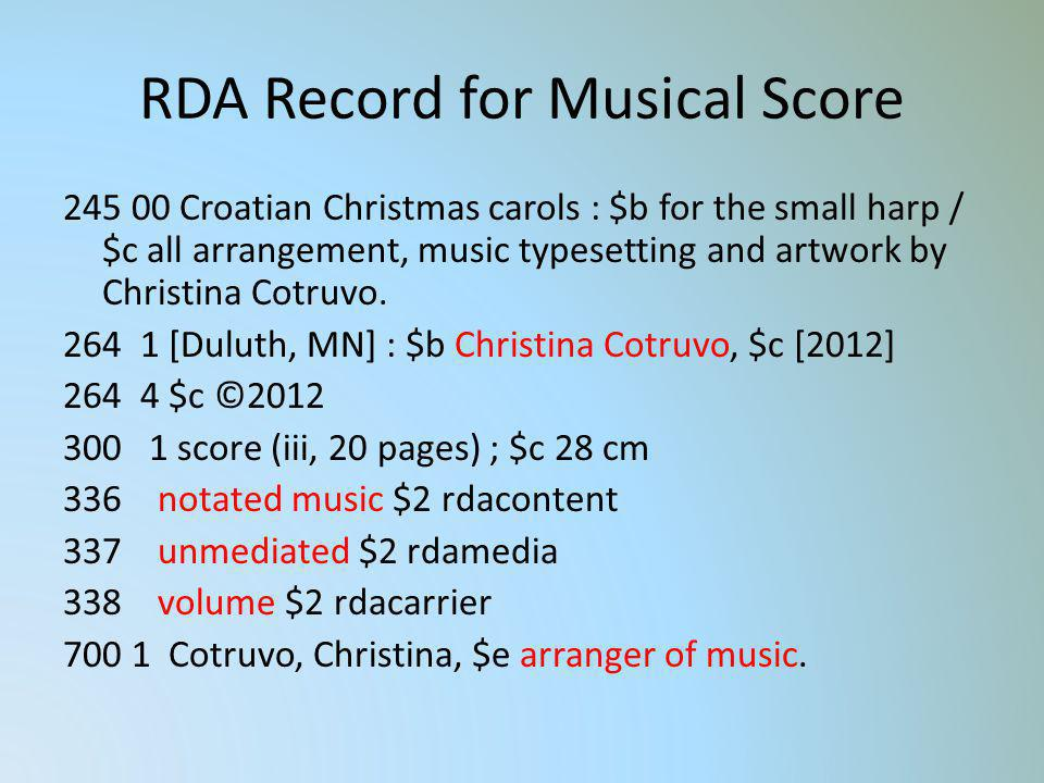 RDA Record for Musical Score 245 00 Croatian Christmas carols : $b for the small harp / $c all arrangement, music typesetting and artwork by Christina