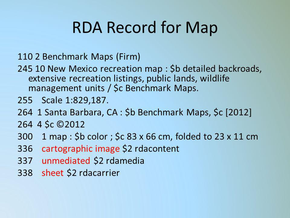 RDA Record for Map 110 2 Benchmark Maps (Firm) 245 10 New Mexico recreation map : $b detailed backroads, extensive recreation listings, public lands,