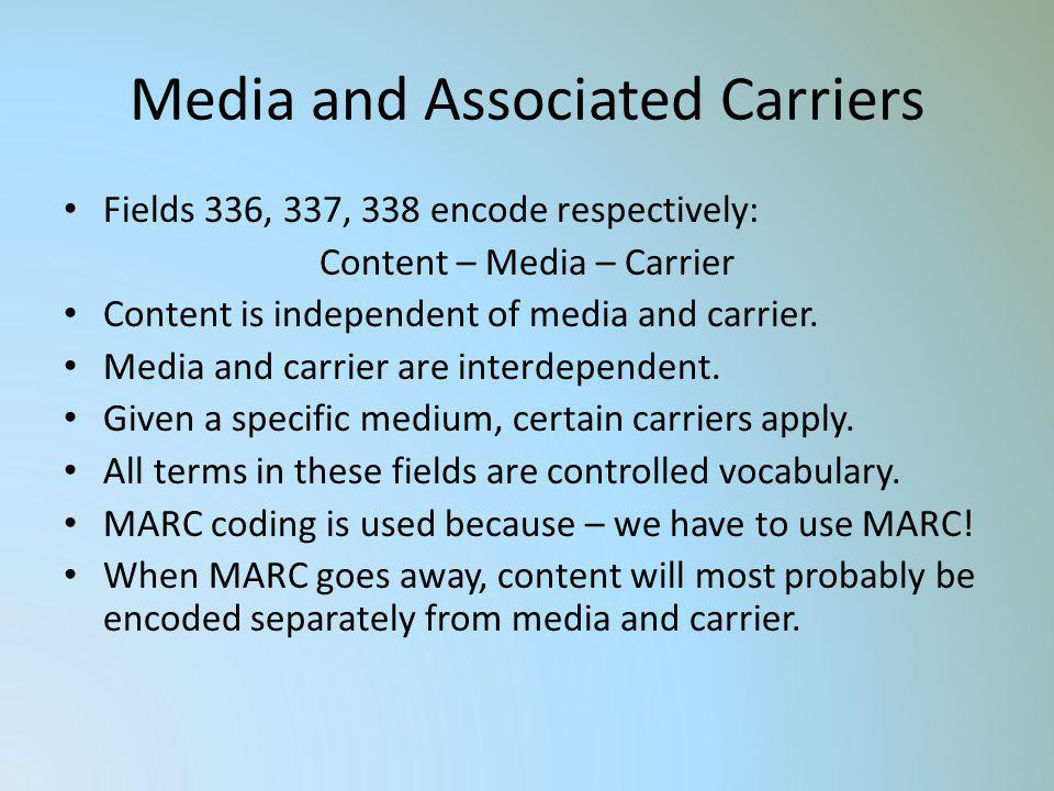 Media and Associated Carriers Fields 336, 337, 338 encode respectively: Content – Media – Carrier Content is independent of media and carrier. Media a