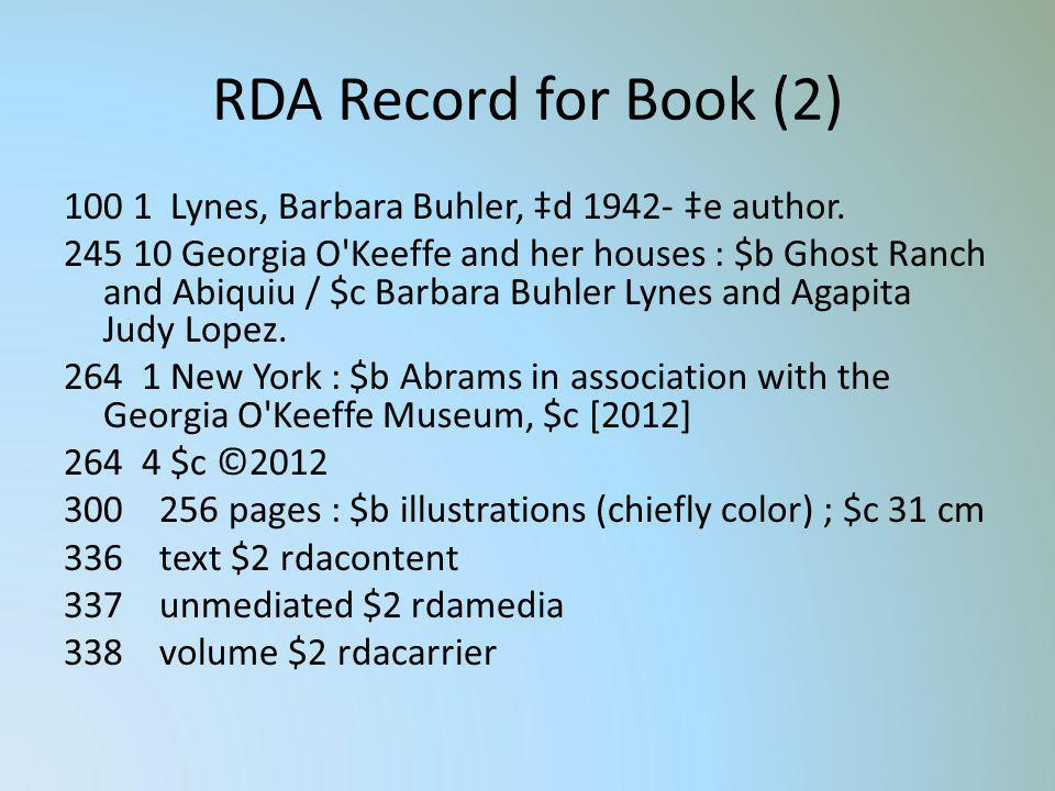 RDA Record for Book (2) 100 1 Lynes, Barbara Buhler, d 1942- e author. 245 10 Georgia O'Keeffe and her houses : $b Ghost Ranch and Abiquiu / $c Barbar