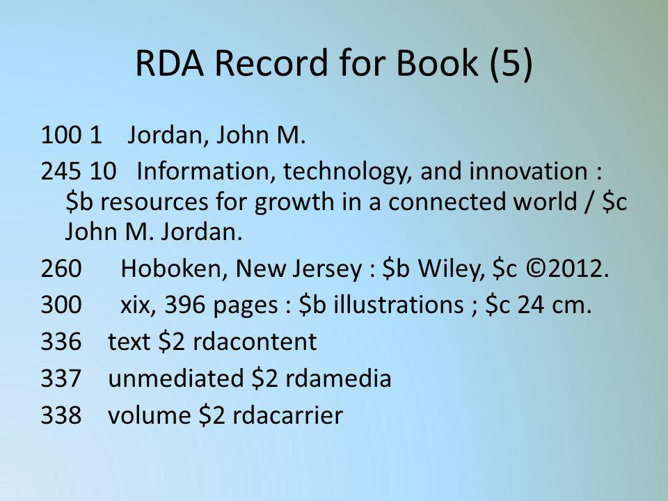 RDA Record for Book (5) 100 1 Jordan, John M. 245 10 Information, technology, and innovation : $b resources for growth in a connected world / $c John