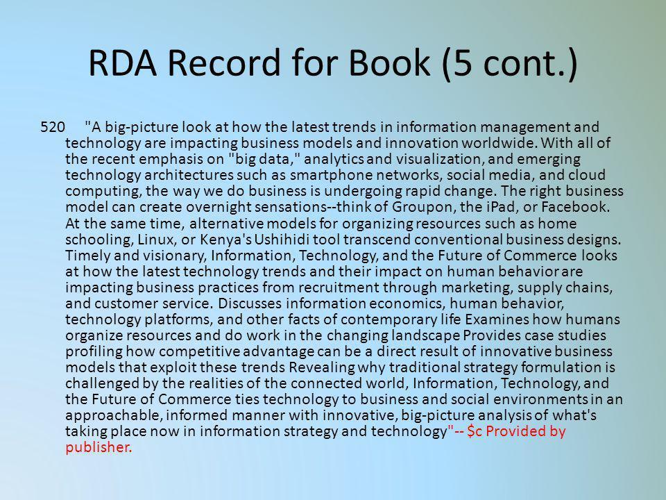 RDA Record for Book (5 cont.) 520