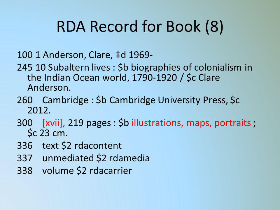 RDA Record for Book (8) 100 1 Anderson, Clare, d 1969- 245 10 Subaltern lives : $b biographies of colonialism in the Indian Ocean world, 1790-1920 / $